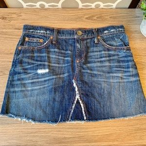 Banana Republic Dark Wash Distressed Denim Skirt S